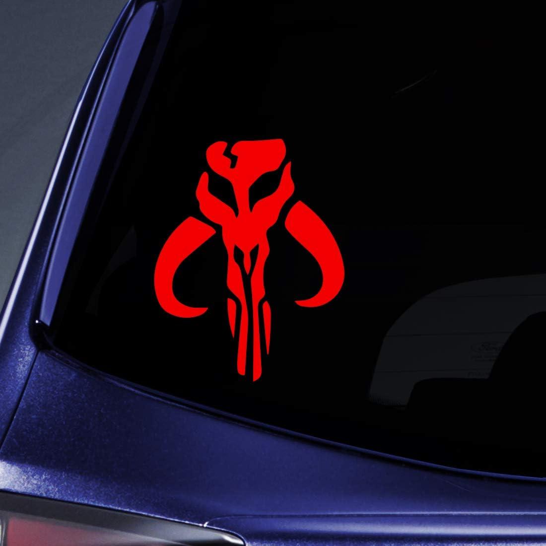 "Bargain Max Decals - Inspired Mandalorian Skull Boba Fett Sticker Decal Notebook Car Laptop 6"" (Red)"