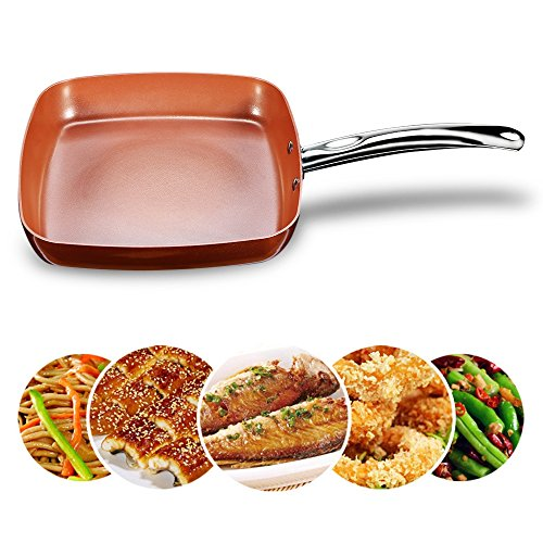Frying Fry Skillet Pan Copper Square Ceramic Coating Nonstick 9.5 Inch Induction Bottom Oven Safe Dishwasher Safe Aluminum Chef Cookware Fry Pan Omelet Pans Chefs Pans Stir Fry Pans (1 Pack)