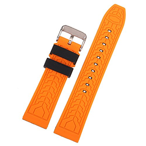EACHE Silicone Watch Strap Rubber Replacement Diver Sport Waterproof Watch Band Black Orange Silver Buckle 20mm by EACHE (Image #5)