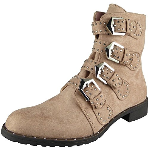 Ladies Stud Buckle Strap Zip Low Heel Army Biker Ankle Boots Shoes Size 3-8 Pink