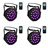 UV Black Lights with Remote 18x3W LED Par Lighting for Stage KTV Pub Club Dsico Show Party (4pcs)