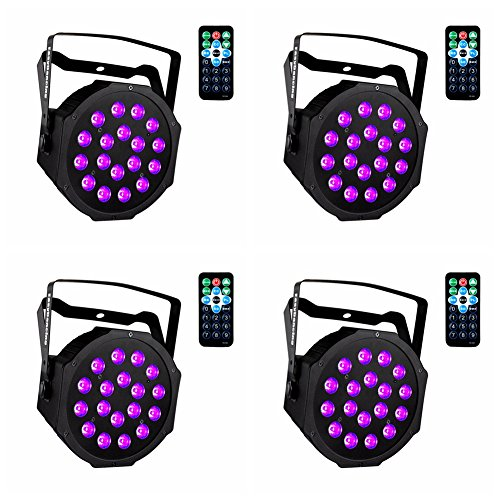 UV Black Lights with Remote 18x3W LED Par Lighting for Stage KTV Pub Club Dsico Show Party (4pcs) by Easydancing