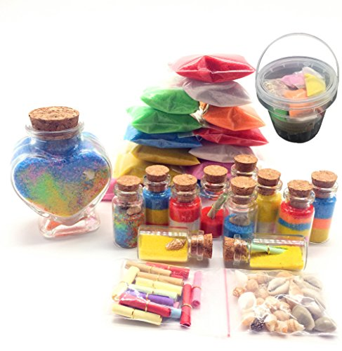 5766a7206de4 Guaishou DIY Arts and Crafts Kit Wishing Bottles Art Glass Bottles with  Cork Colorful Rainbow Sand Sea Shells Mixed Beach Seashells (Heart Bottle)