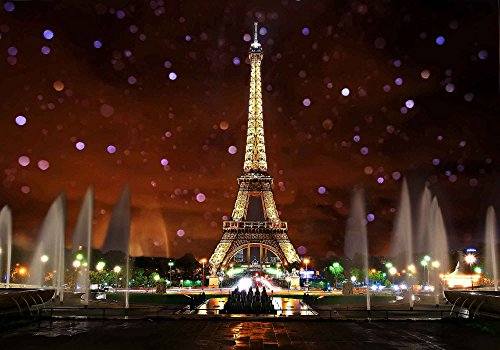 Eiffel Tower Backdrop for Party MME 10x7Ft Night Scene Romantic Background Video Studio Props GEME613