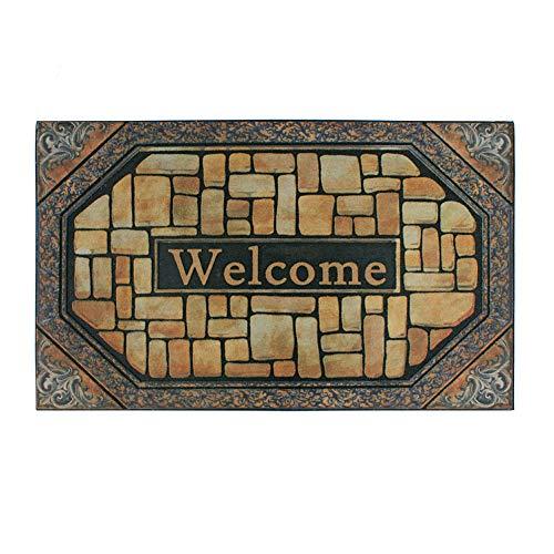 Front Door Mat Entrance Rug Floor Mats, Waterproof Floor Mat Shoes Scraper Doormat, 18x30 Patio Rug Dirt Debris Mud Trapper Outdoor Welcome Door Mat Carpet (Welcome)