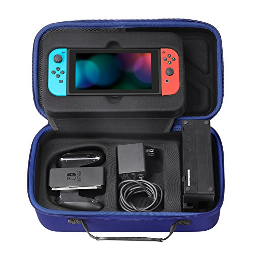 MoKo Nintendo Switch Portable Case, Travel Carrying Hard Shell Box Holder Protective Storage with 12 Game Cartridge Card for Nintendo Switch 2017 Console, Gamepad, Charger & Cable - Indigo