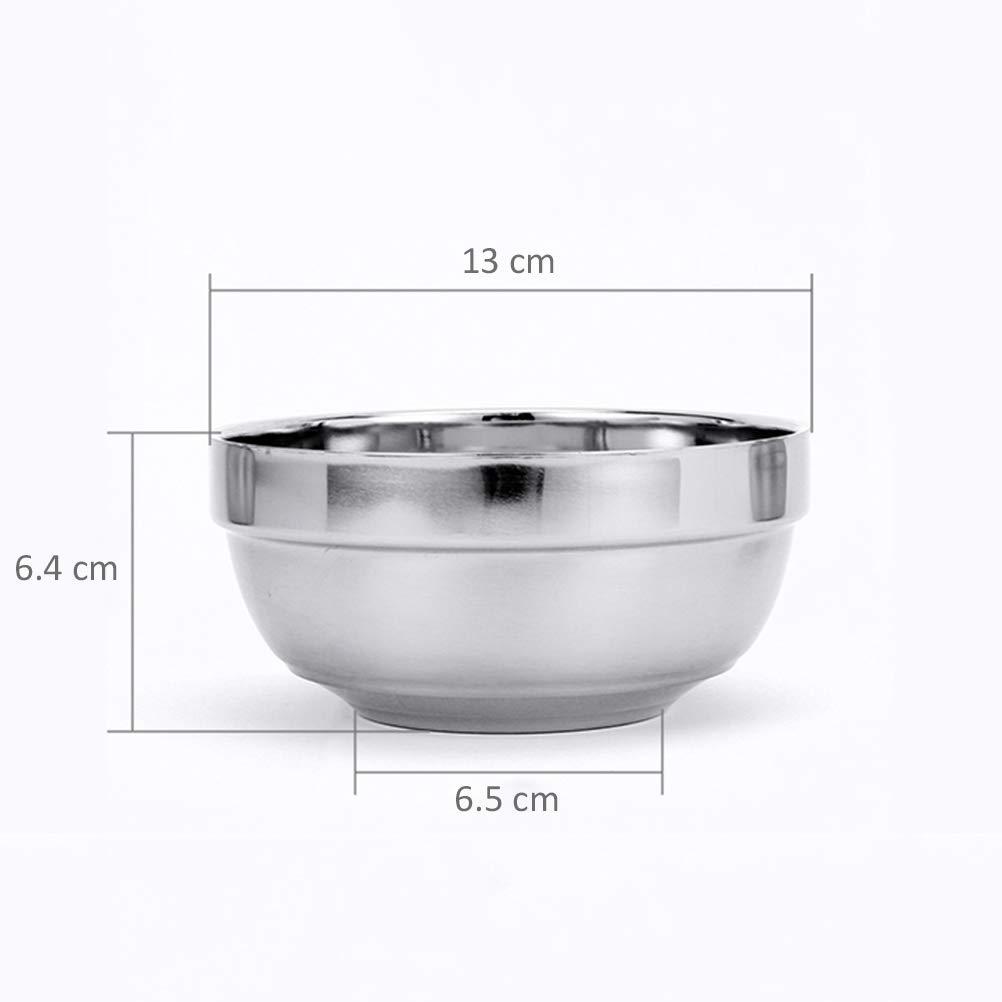 empilable pour le stockage pratique BESTONZON Bols /à m/élanger en acier inoxydable /à double couche 6pcs base plate adapt/é /à lenfant 13x1x6.4cm isolation anti-chaude