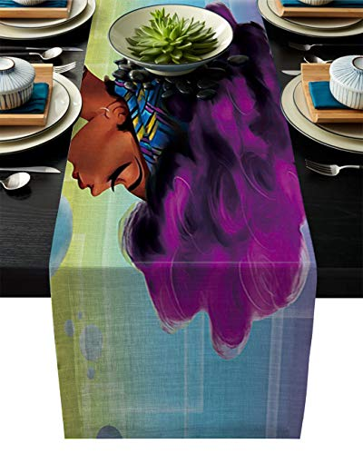 ARTSHOWING Retro Table Runner Party Supplies Fabric Decorations for Wedding Birthday Baby Shower 13x70inch Traditional African Black Women with Purple Hair Afro Hairstyle (Best Hairstyles For Evening Party)