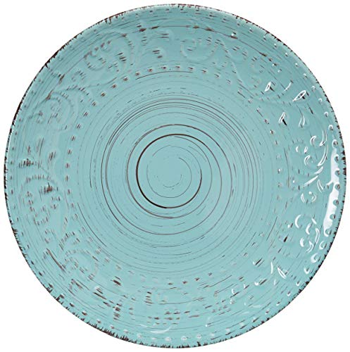 Elama Embossed Stoneware Ocean Dinnerware Dish Set, 16 Piece, Turquoise - ◈A STUNNING ACCENT TO YOUR TABLE◈ The Elama Malibu Waves 16 Piece Round Stoneware Dinnerware Set in Turquoise ◈BEAUTIFULLY COLORED◈ In Tropical Turquoise, this tableware set will surely set a tone at dinner time ◈A FULL SERVICE FOR 4◈ Each dish is creatively crafted into a unique and contemporary shape, adding a little something more special to meal time - kitchen-tabletop, kitchen-dining-room, dinnerware-sets - 51VnlTV4MrL -