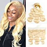 Fabeauty 613 Blonde Human Hair 3 Bundles with Frontal Brazilian Body Wave with Baby Hair Frontal 100% Ear to Ear Virgin Human Hair Weave with Lace Frontal (18 18 20+16)