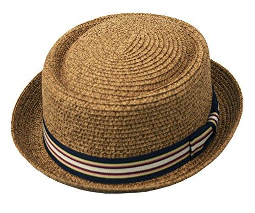 Men's Fancy Summer Straw Pork Pie Derby Fedora Upturn Brim Hat (Large-XLarge, Toast)