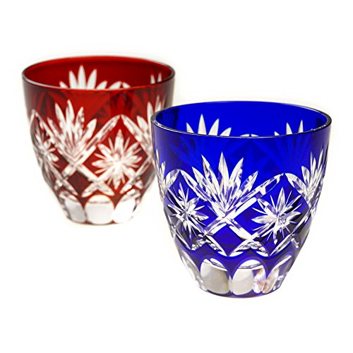 Pair of Red & Blue Star Motif Guinomi Sake Cup Shot Glass Edo Kiriko Design Cut Glass - Pair [Japanese Crafts Sakura] by Japanese Crafts Sakura