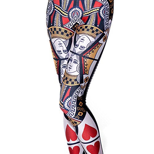 Queen of Hearts Women's Slim Graphic Printed Pattern Stretchy Pencil Pants Sexy Tights Jegging