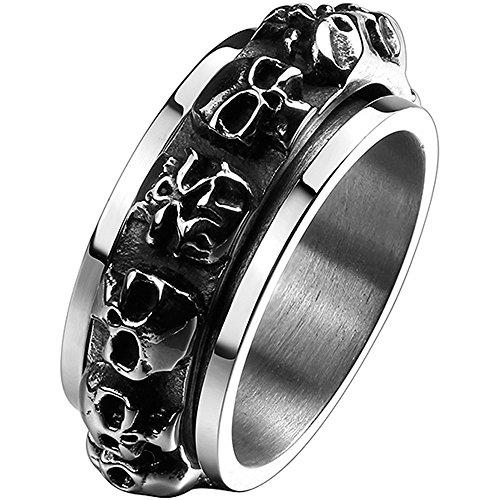 Men's Fashion Titanium Steel Multiple Skull Head Spinner Ring Vintage Gothic Punk Biker Band,Silver Black 11