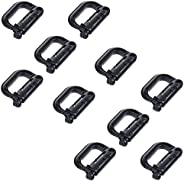 Y8HM 10 Pcs Tactical Multipurpose Thick Plastic D-Ring Locking Hanging Hook Tactical Link Snap Keychain Button