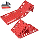 HCMAX 2 Pack Foldable Emergency Auto Tire Traction Mat Tire Grip Car Escaper Snow Grabber Ideal to Unstuck Car from Snow Ice Mud Sand
