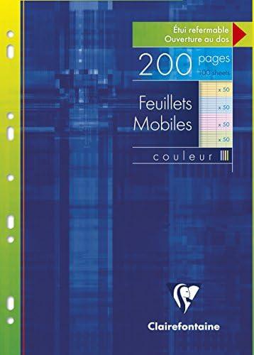 Clairefontaine 17511C - Eine Packung mit 200 Seiten, 21 x 29,7 cm, mobile Notizblätter, verschiedene Farben (50 Blatt, Blau, Grün, Gelb und Pink)