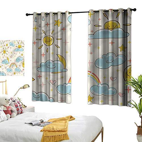 Finials Matte Black Clouds - Blackout Curtain Kids Girl Room Blackout Curtain Cartoon Clouds Weather Theme 55