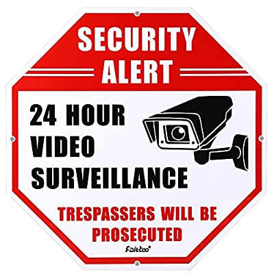 "Faittoo Video Surveillance Sign, No Trespassing Security Alert Octagon Rust Free 12""x12"" 40Mil Thick ¨C Security Camera Warning for Indoor/Outdoor Use, Waterproof (Reflective, Aluminum) from Faittoo"