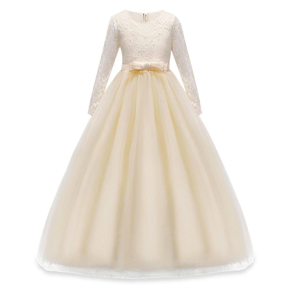 HUANQIUE Girls Lace Pageant Party Dress Wedding Flower Girl Maxi Gowns Long Sleeve Champagne 11-12 Years