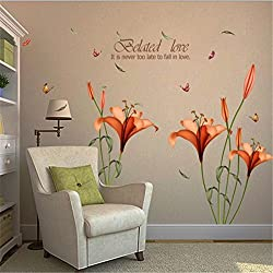 HN Flower Wall Stickers Removable Decal Home Decor DIY Art Decoration (Orange)