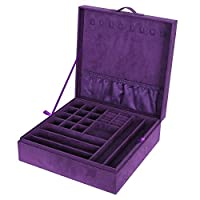 Songmics 2-layer Jewelry Box Necklace Bracelet Organizer Purple Velvet UJDS305