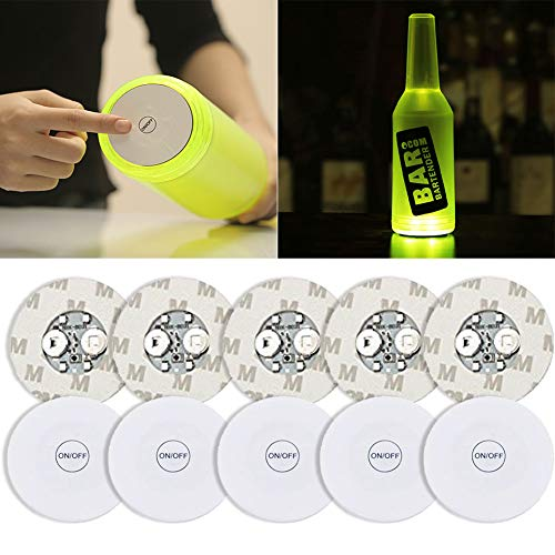 Light Up Coasters (10Pcs LED Bar Coaster,LED Stickers,Light Up Bar Coasters For Drinks,Cup Holder Lights For Wine Liquor Bottle,Perfect For Party,Wedding,Bar)