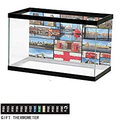 wwwhsl Aquarium Background,England,England City Red Telephone Booth Clock Tower Bridge River British Flag with Flowers,Blue Red Fish Tank Backdrop 36 L X 20 H