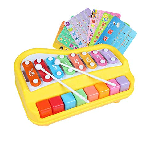 Kids Xylophone Toy, Elaco 2 in 1 Mini Musical Multi-Colored Keys Instrument for Babies Toddlers with Music Cards Songbook