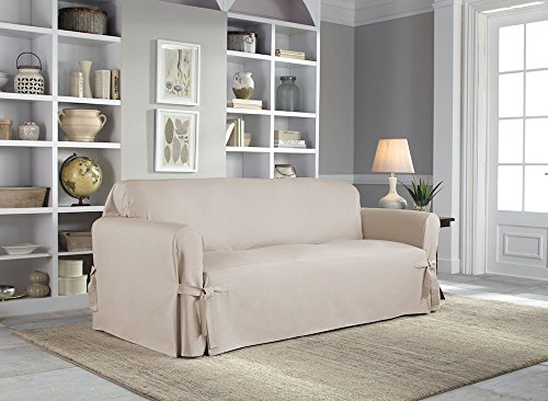 Serta | Relaxed Fit Durable Woven Linen Canvas Furniture Slipcover (Sofa, Khaki) by Perfect Fit (Image #2)
