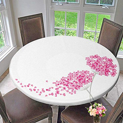Mikihome Luxury Round Table Cloth for Home use Blossoms Botany Bouquet Garden Romance Elegance Baby Pink Eggshell for Buffet Table, Holiday Dinner 47.5