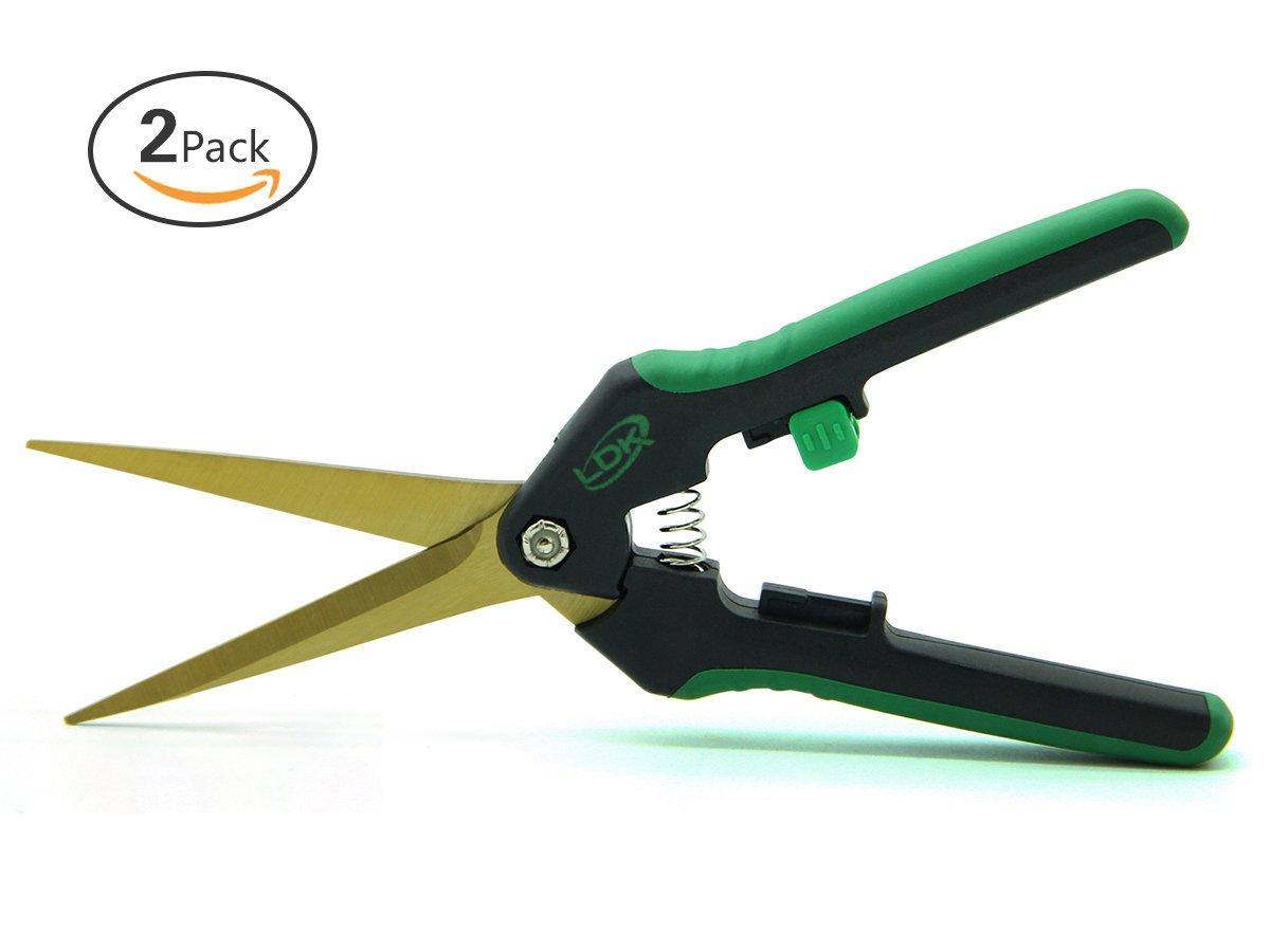 LDK 2 Pack Gardening Hand Pruner Pruning Snip for Flower, Great Garden Trimming Scissors with Straight Tip Titanium Stainless Steel Blades, 7.5-Inch
