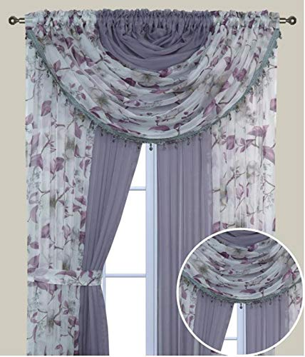 Mk Home 4 Panel Sheer Rod Pocket Floral Curtains with Attached Valances and Fabric Tiebacks for Any Room - Living Room, Dinning Room or Bedroom New (Purple Flower/Lilac ()