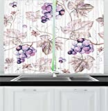 wine and grape kitchen curtains - Vine Kitchen Curtains by Lunarable, Vintage Drawing Style Hand Drawn Grapes and Detailed Leaves Nature Wine Making Print, Window Drapes 2 Panel Set for Kitchen Cafe, 55 W X 39 L Inches, Purple Tan