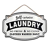 laundry room wall decor Vintage Metal Laundry Room Wall Decor Sign Hanging with Jute Rope -16x10.2(in)-3D letter effect