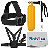 Accessory Bundle for GoPro Cameras + Floating Handle + Head Strap + Chest Strap + Photo4Less Cleaning Cloth + J-Hook Mount - Deluxe Accessory Kit