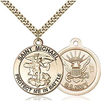 Gold Plate Heavy Curb Chain Patron Saint 1 x 1 14kt Gold Filled Claggagh Pendant