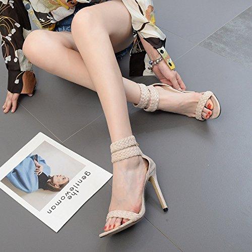 ZHZNVX Los zapatos de tacón alto elegante Roma el trenzado de las sandalias fina con cremallera trasera zapatos de mujer apricot