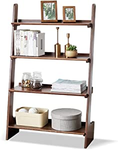 ZXYY Wooden Bookcase Wall Leaning Storage Shelves Home Decorative Furniture Living Room Office4 Ladder Shelf Bookcase Brown A 80x32x130cm (31.5x12.6x51.2 inch)