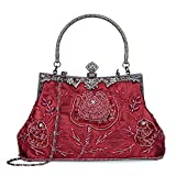 Women's Handbag Vintage Rose Embroidered Beaded Sequin Evening Bag Wedding Party Clutch Purse (Wine Red)