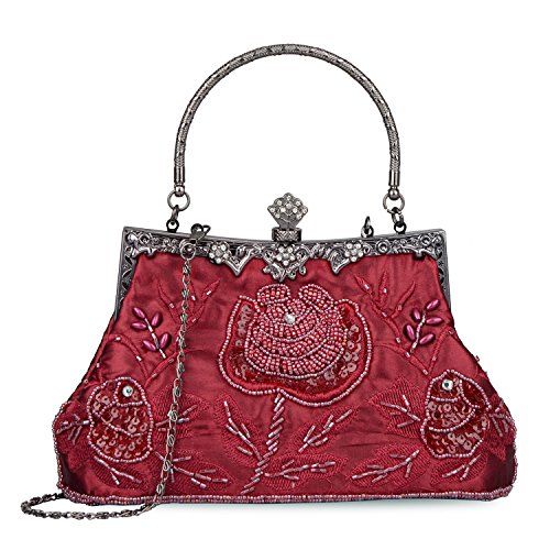 - Women's Handbag Vintage Rose Embroidered Beaded Sequin Evening Bag Wedding Party Clutch Purse (Wine Red)