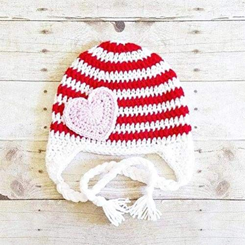 bb7516021ab Image Unavailable. Image not available for. Color  Crochet Valentine s Day  Striped Heart Beanie Hat ...