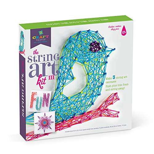 Craft-tastic – String Art Kit – Craft Kit Makes 3 Large String Art Canvases – Bird Edition