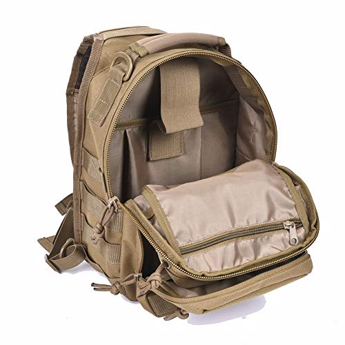 Tactical Sling Bag Pack Military Shoulder Sling Backpack Small Range Bag Day Pack Tan