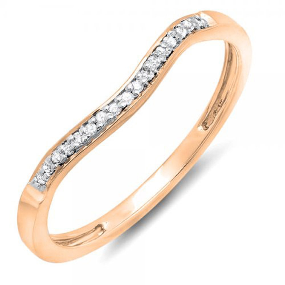 0.10 Carat (ctw) 10K Gold Round Diamond Ladies Anniversary Wedding Band Guard Ring 1/10 CT Dazzlingrock K1391-10K-P
