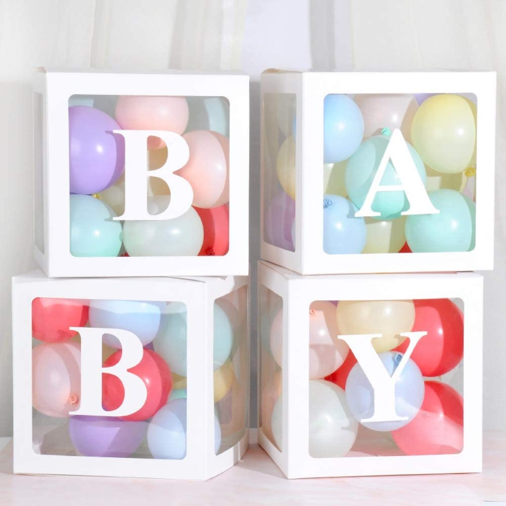 Amazon Com 4 Pieces Set Transparent Balloon Decorations Boxes Balloon Love Baby Blocks For Boy Girl Baby Shower Birthday Wedding Party Decoration Toys Games
