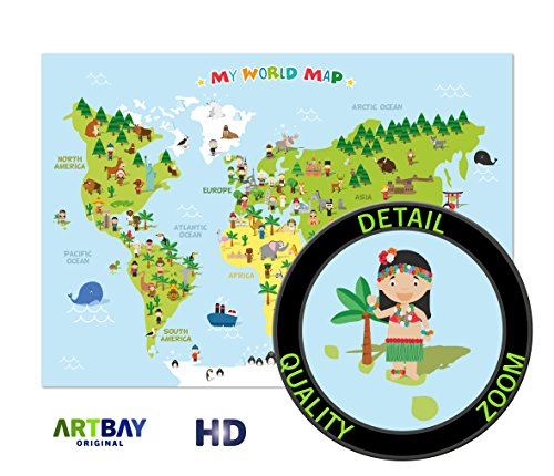 Kids Map Continents - World Map for Kids - XXL Poster - 46.8 x 33.1 Inch - World map for children with cheerful figures and animals - Children can learn about the different continents, cultures and animals of the world.