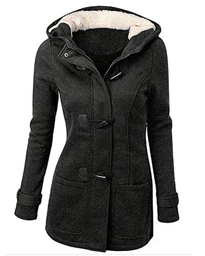 Épais Foncé Désinvolte Manteaux Chaud Femme Blouson Jacket Hiver Veste À Capuche Fleece Automne Coton En Corne Minetom Bouton Gris xq1aZw4ZU