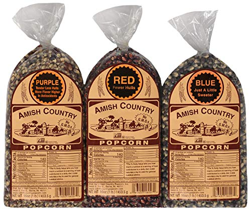 Amish Country Popcorn - 3 (1 lb. Bag Gift Set) Purple, Blue and Red Kernels Old Fashioned, Non GMO, Gluten Free, Microwaveable, Stovetop and Air Popper Friendly with Recipe Guide