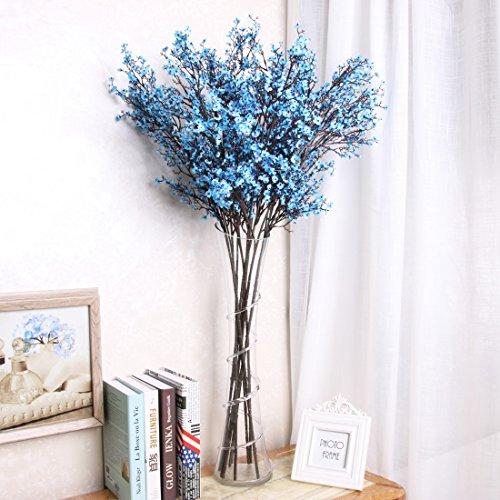YYF 5pcs Artificial Flowers Silk Gypsophila Stem Bouquets Babys Breath Floral Fake Flowers for Wedding Party Home Garden (Blue Stem)
